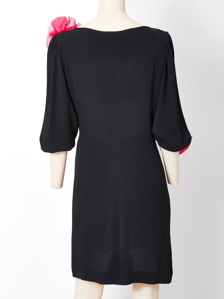 Yves Saint Laurent Jersey Dress with Poppy Flower Embellishment