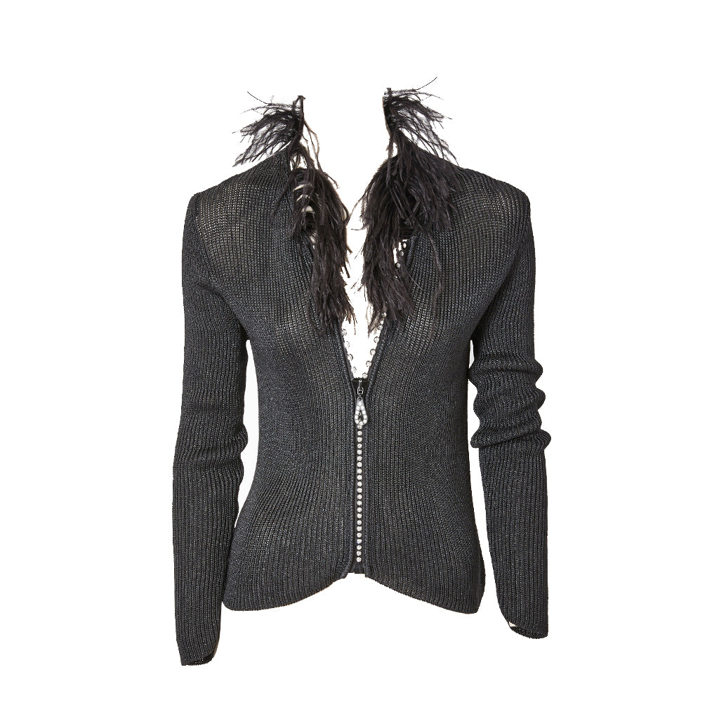 96ed0132144 Yves Saint Laurent Zip Front Cardigan With Feather Collar –  marlenewetherell.com