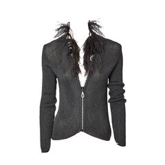Yves Saint Laurent Zip Front Cardigan With Feather Collar