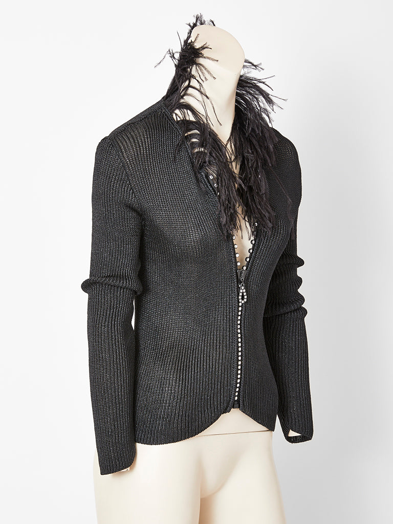 2a8749f38b5 Yves Saint Laurent Zip Front Cardigan With Feather Collar ...
