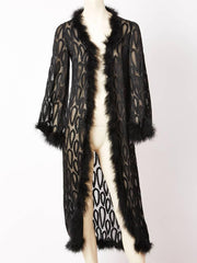 Yves Saint Laurent Cut Velvet Maribou Trim Evening Coat