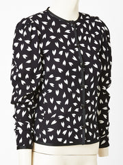 Yves Saint Laurent Silk Black and White Patterned Jacket