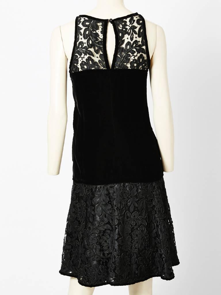 Yves Saint Laurent Lace and Velvet Cocktail Dress