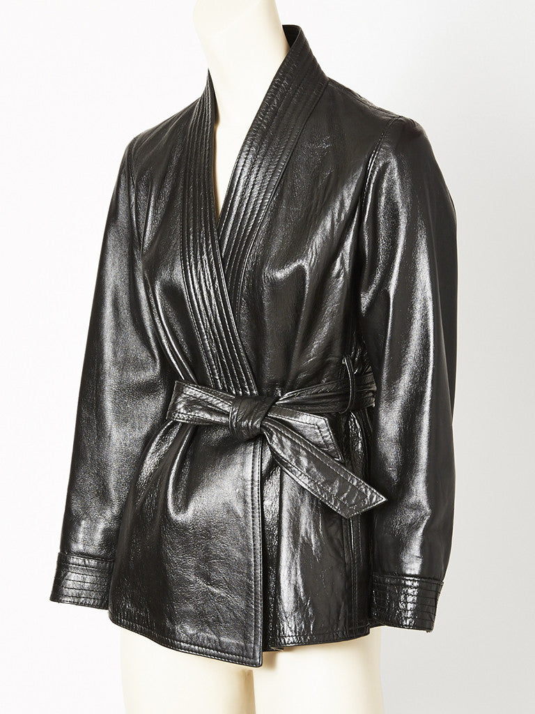 Yves Saint Laurent Black Leather Belted Wrap Jacket