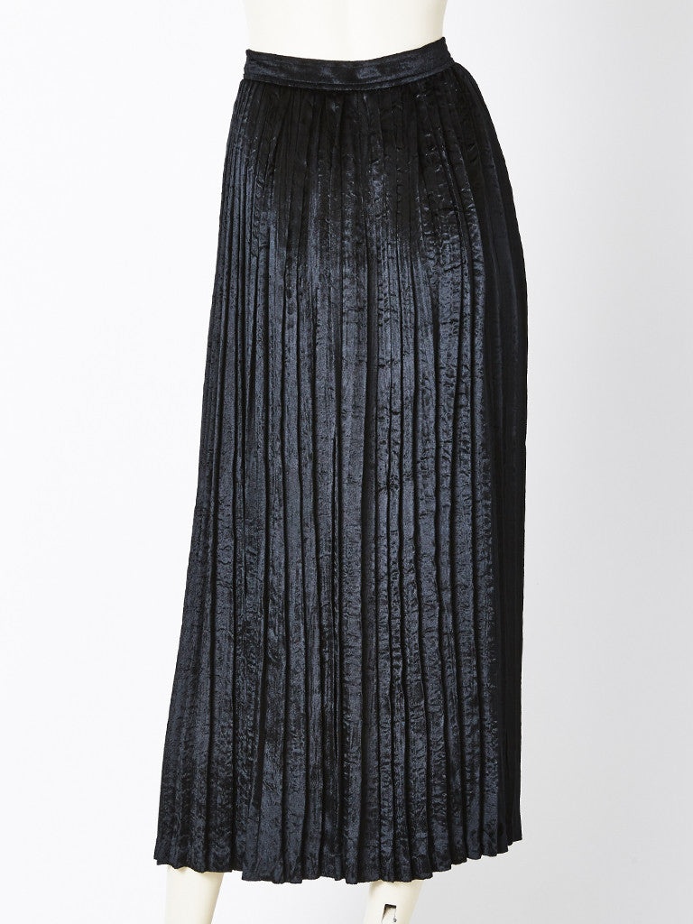 Yves Saint Laurent Crushed Velvet Pleated Skirt