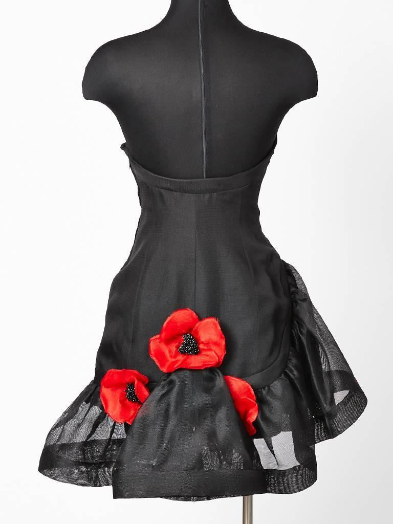 Yves Saint Laurent Strapless Cocktail Dress With Poppies