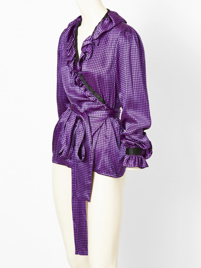 YSL black purple check blouse