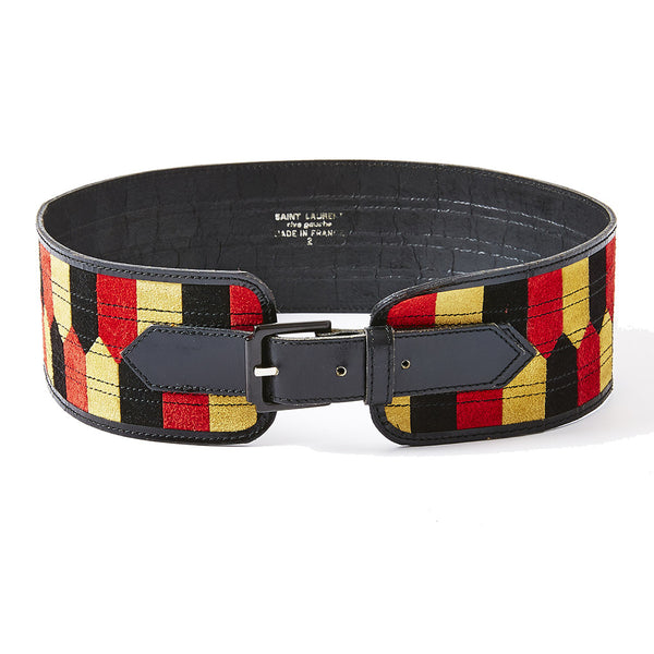 Yves Saint Laurent  Suede Patchwork Belt