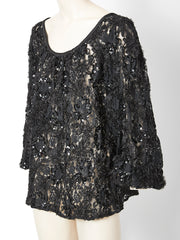 Yves Saint Laurent Lace and Sequined Peasant Blouse