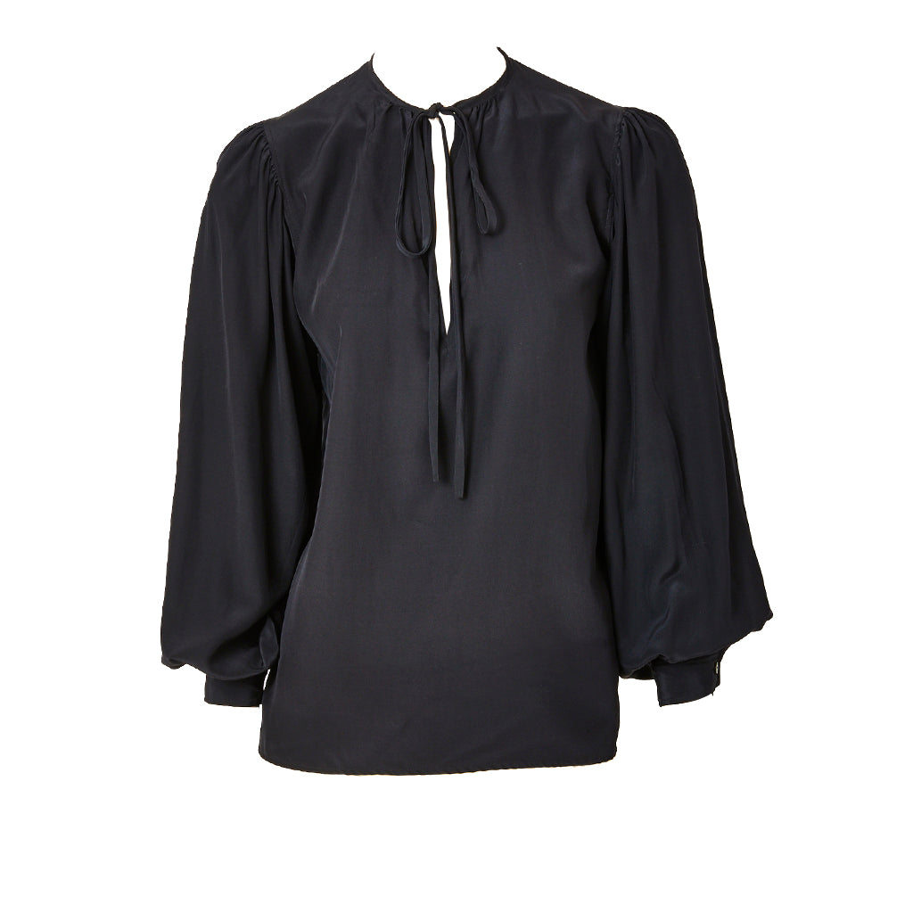 6556d66bf6fca Yves Saint Laurent Black Silk Peasant Blouse – marlenewetherell.com