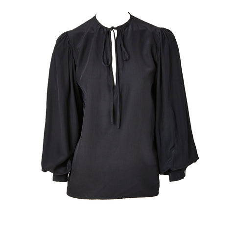 Yves Saint Laurent Black Silk Peasant Blouse