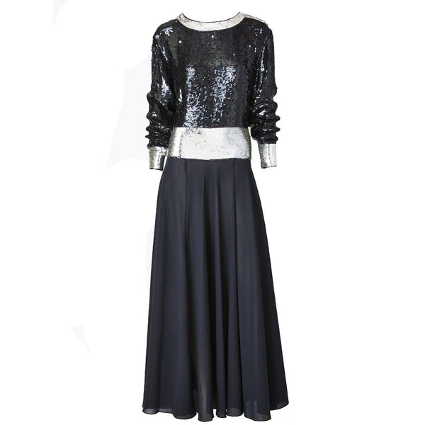 Yves Saint Laurent Sequined and Chiffon Gown