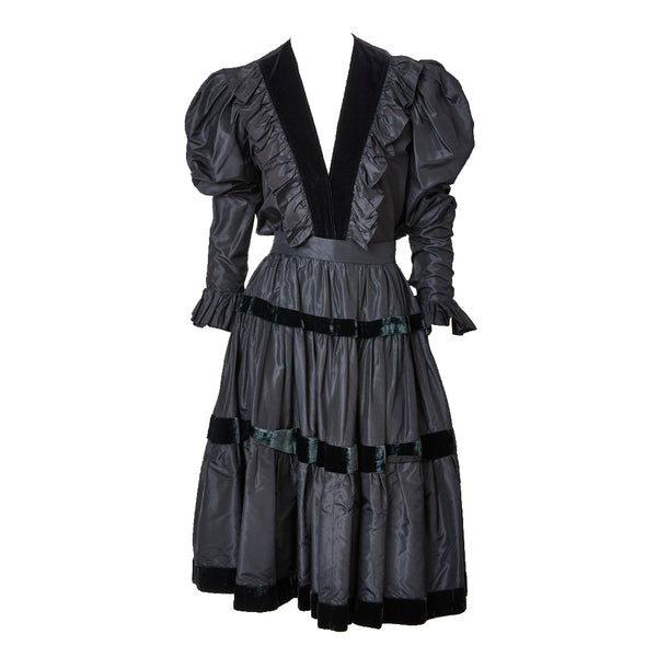 Yves Saint Laurent Velvet and Taffeta Evening Ensemble