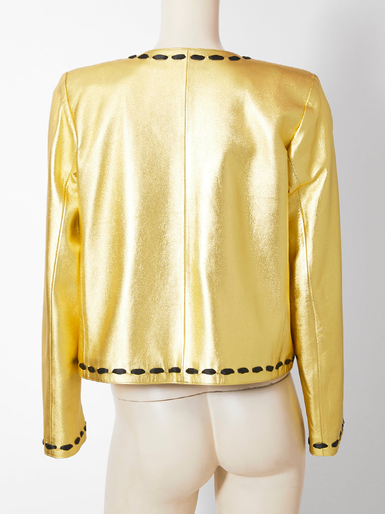 Yves Saint Laurent Gold Leather Cardigan
