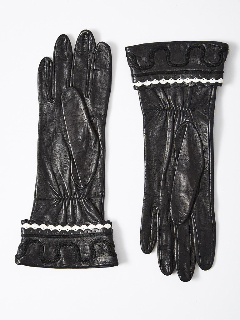 Yves Saint Laurent Leather Gloves with White Trim Detail