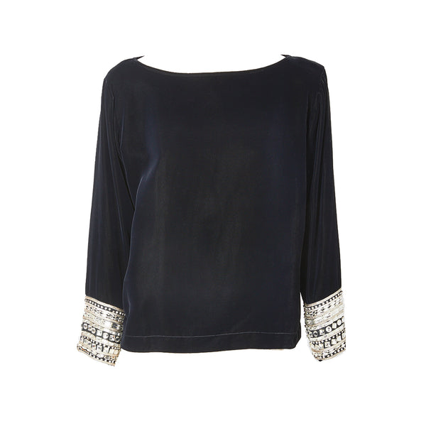 Yves Saint Laurent Velvet Top with Strass Embellishment