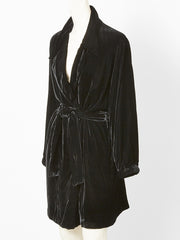 Yves Saint Laurent Black Velvet Belted Wrap Coat