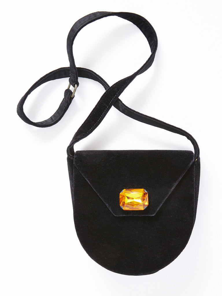 Yves Saint Laurent Jeweled Black Velvet Bag