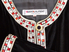 Yves Saint Laurent Velvet Evening Cardigan With Jeweled Buttons