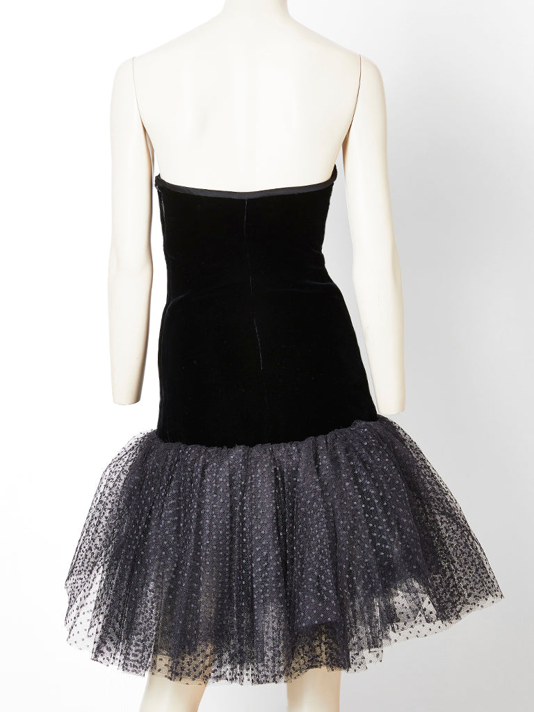 Yves Saint Laurent Velvet and Tulle Cocktail Dress