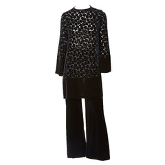 Yves Saint Laurent Cut Velvet Tunic and Pant Ensemble