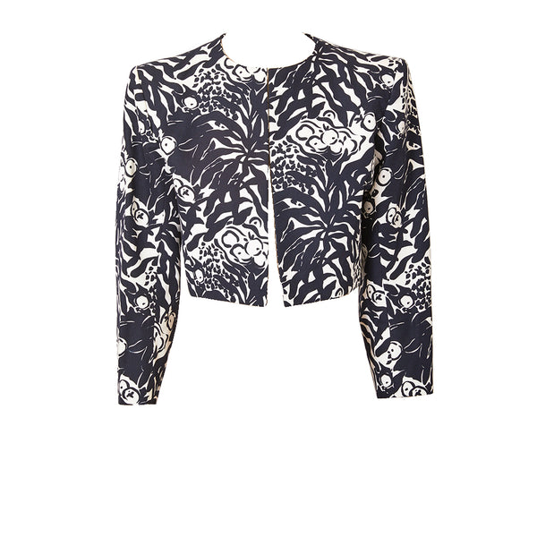 Yves Saint Laurent Black and White Patterned Cropped Jacket