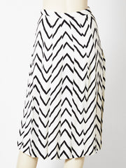 Yves Saint Laurent Chevron Pattern Crepe Skirt