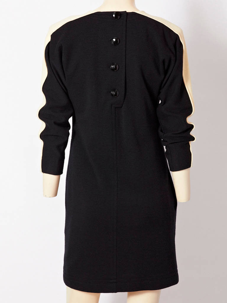 YSL Black and White Wool Knit Day Dress