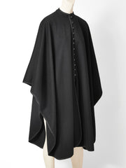 Yves Saint Laurent Wool Cape with Braided Trim
