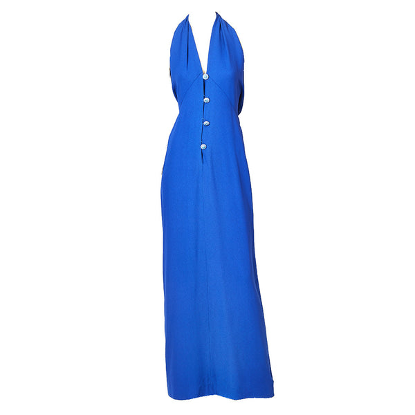 Yves Saint Laurent Bias Cut Halter Neck Gown