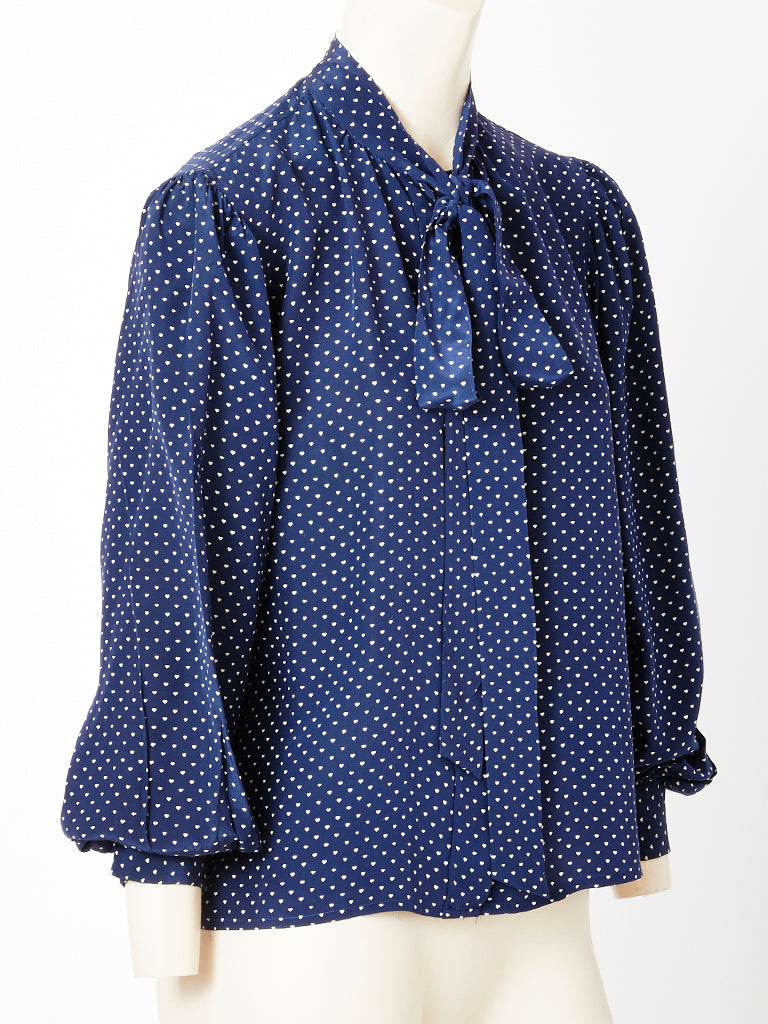 Yves Saint Laurent Navy Patterned lavaliere Silk Blouse