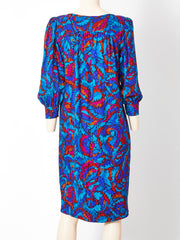 Yves Saint Rive Gauche Silk Smock Dress