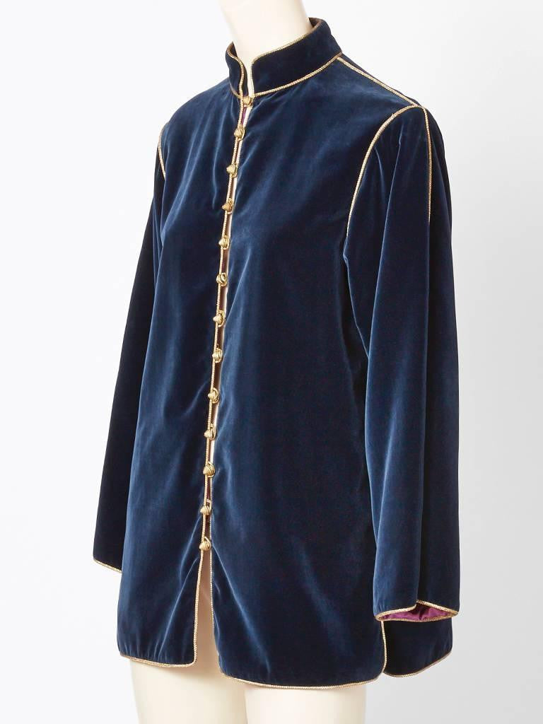 Yves Saint Laurent Midnight Blue Velvet Chinese Collection Jacket