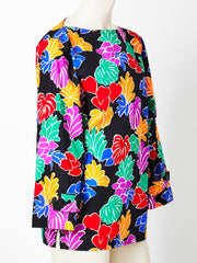 Yves Saint Laurent Colorful Leaf Pattern Cotton Tunic
