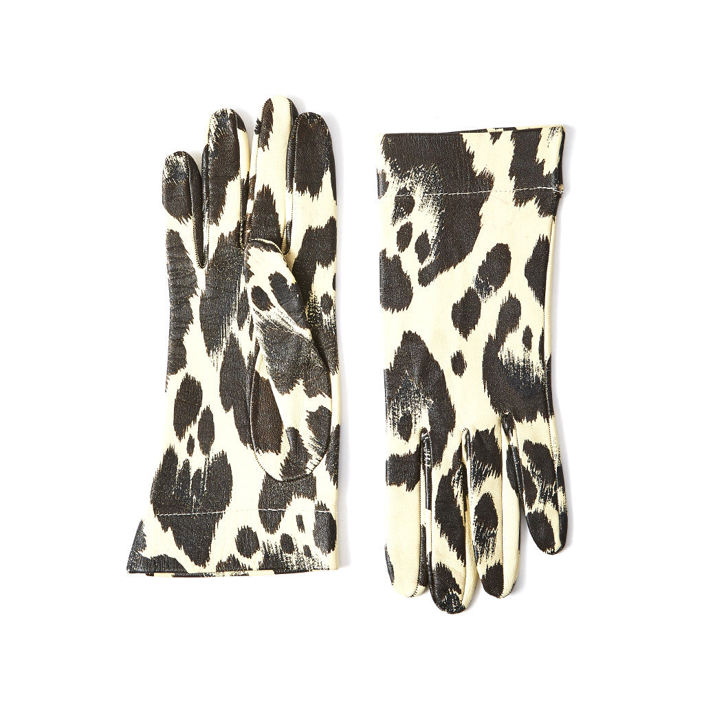 Yves Saint Laurent Animal Print Leather Gloves