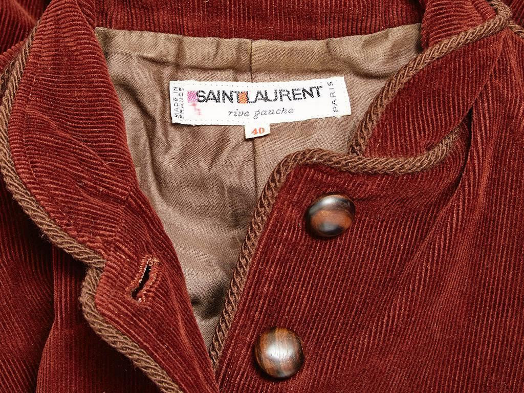 Yves Saint Laurent Rust Corduroy Russian Collection Jacket