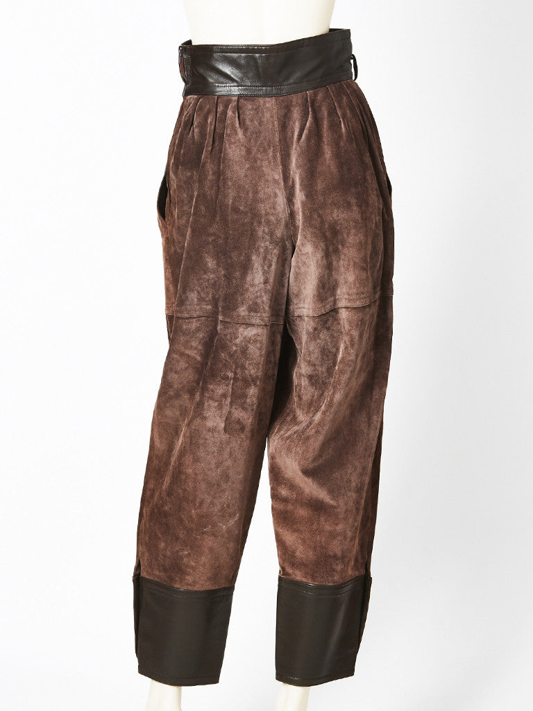 Yves Saint Laurent Suede and Leather Pant