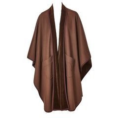 YSL Brown Velvet Trim Wool Cape