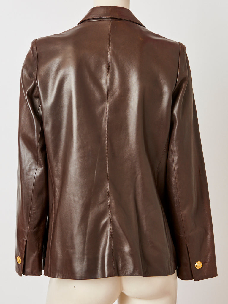 Yves Saint Laurent Leather Double Breasted Blazer