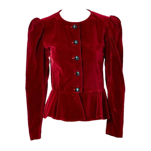 Yves Saint Laurent Velvet Jacket with Peplum