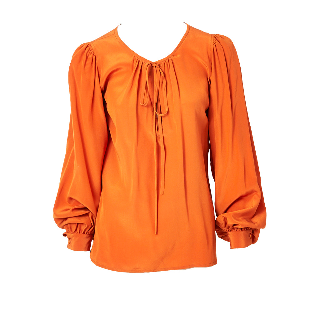 Yves Saint Laurent Burnt Orange Silk Peasant Blouse