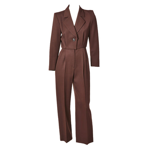 Yves Saint Laurent Chocolate Brown Jumpsuit