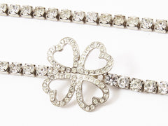 "Yves Saint Laurent Rhinestone ""Four Leaf Clover"" Belt"