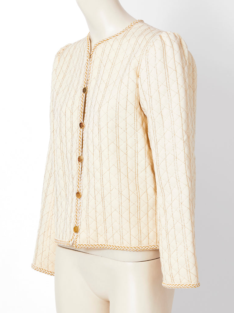 Yves Saint Laurent Ivory Quilted Jacket with Lurex