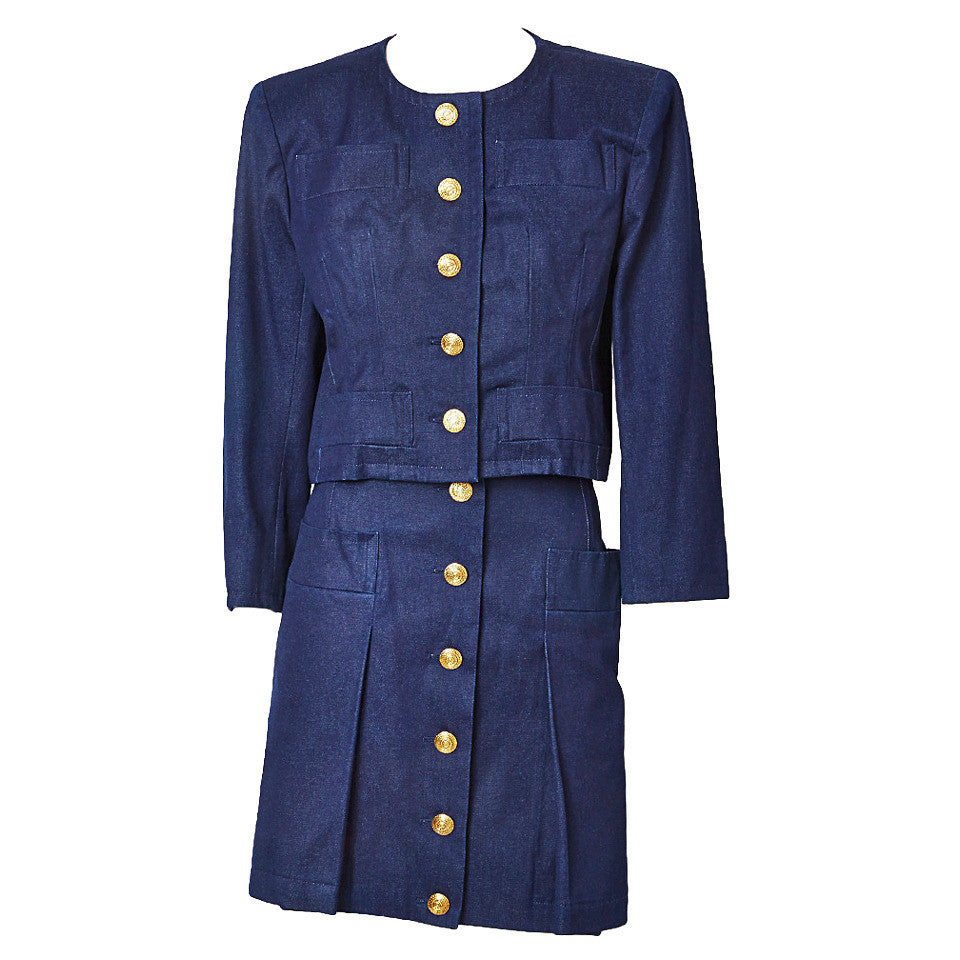 Yves Saint Laurent Denim Skirt Suit