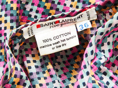 Yves Saint Laurent Diagnol Pattern Cotton Peasant Blouse C. 1970's