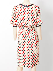 Yves Saint Laurent RIve Gauche Patterned Silk Day Dress