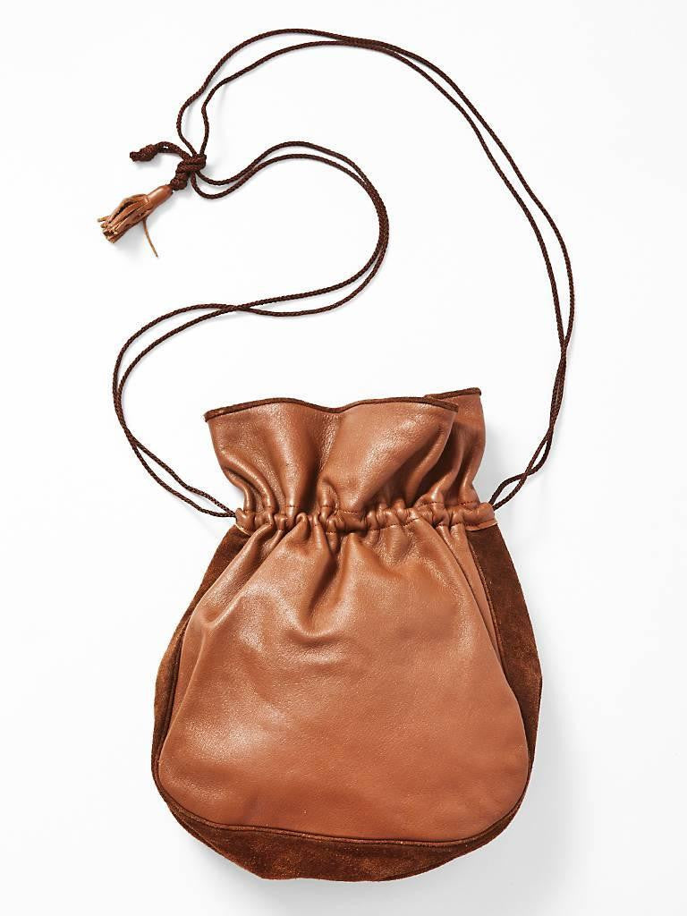 Yves Saint Laurent Suede and Leather Drawstring Bag