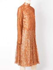 Yves Saint Laurent Metallic Lace Cocktail Dress