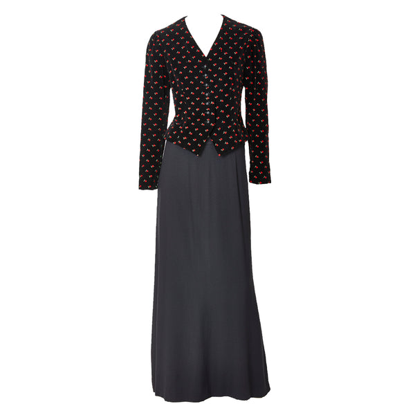 Yves Saint Laurent Embroidered Velvet Evening Ensemble